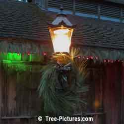 Christmas Picture: Wreath Decorated Antique Street Lantern