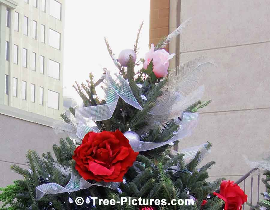 Christmas Tree Decorated With Ornaments, Flowers and Ribbon | Christmas Trees at Tree-Pictures.com