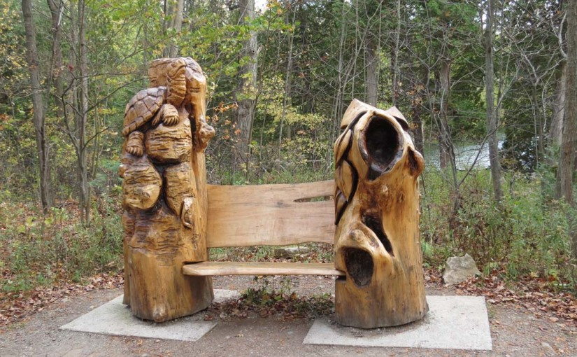 Wood Bench Carved